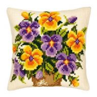 Cross Stitch Cushion Kit Yellow and Purple Pansies by Vervaco
