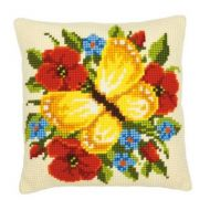 Cross Stitch Cushion Kit Yellow Butterfly by Vervaco