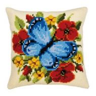 Cross Stitch Kit: Cushion: Blue Butterfly by Vervaco