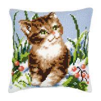 Cross Stitch Kit: Cushion: Winter Scene Kitten by Vervaco
