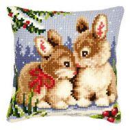 Cross Stitch Kit: Cushion: Winter Scene Bunnies by Vervaco