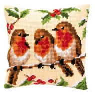 Cross Stitch Kit: Cushion: Three Robins by Vervaco