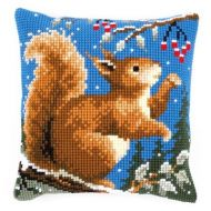 Cross Stitch Kit: Cushion: Squirrel in Winter by Vervaco