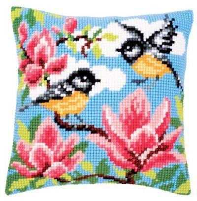 Cross Stitch Kit: Cushion: Blue Tits by Vervaco