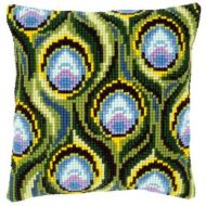 Cross Stitch Kit: Cushion: Peacock Feathers by Vervaco