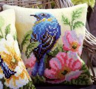 Cross Stitch Kit: Cushion: Bird on Rose Bush by Vervaco