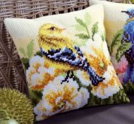 Cross Stitch Cushion Kit Chaffinch on Peonies by Vervaco