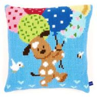 Cross Stitch Kit: Cushion: Dog with Balloons by Vervaco