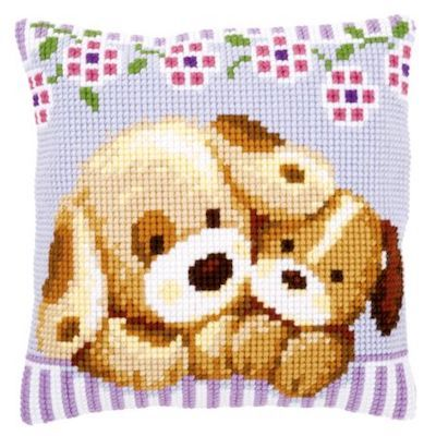 Cross Stitch Kit: Cushion: Cuddling Dogs by Vervaco
