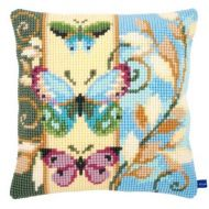 Cross Stitch Cushion Kit Deco Butterflies by Vervaco