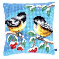 Cross Stitch Kit: Cushion: Two Birds in Winter by Vervaco
