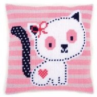 Cross Stitch Kit: Cushion: Kitten on Pink Stripe by Vervaco