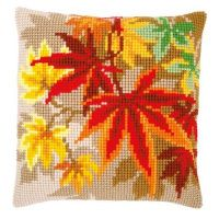 Cross Stitch Cushion Kit: Autumn Leaves by Vervaco