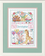 Dimensions Toy Shelf Birth Record Cross Stitch Kit