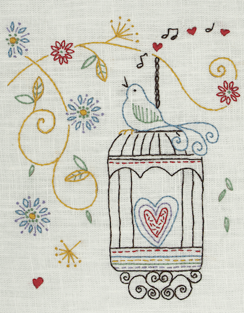 Anchor Starter Embroidery Kit Birdcage