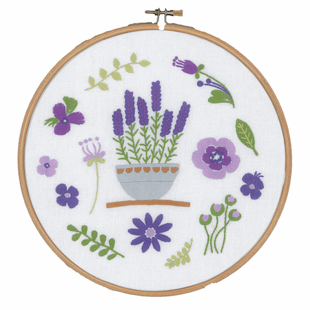 Vervaco Embroidery Kit with Ring Lavender