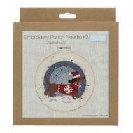 Embroidery Punch Needle Hoop Kit - Festive Dachshund