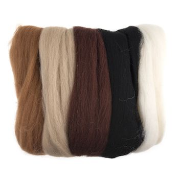 Wool Roving 50g Assorted Browns