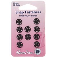 Snap Fasteners Black 11mm