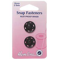 Snap Fasteners Black 18mm