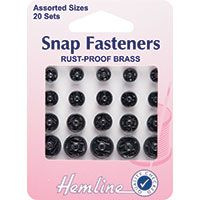 Snap Fasteners Assorted Black