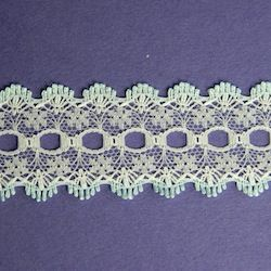 Knit-in Eyelet Lace Blue & White 30mm