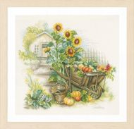 Wheelbarrow & Sunflowers (Evenweave) Counted Cross Stitch Kit by Lanarte