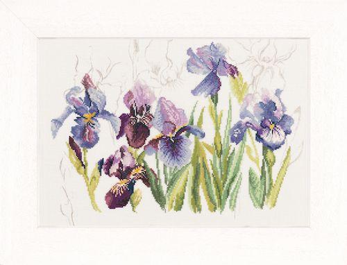 Irises (Linen) Counted Cross Stitch Kit by Lanarte