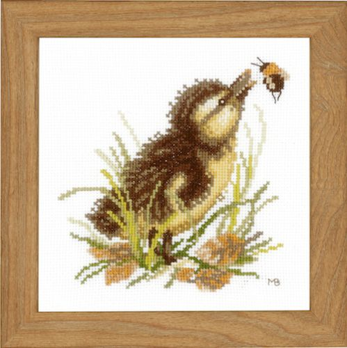 Duckling and Bumble Bee (Aida,W) Counted Cross Stitch Kit by Lanarte
