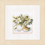 Sheltering Robin (Aida,W) Counted Cross Stitch Kit by Lanarte