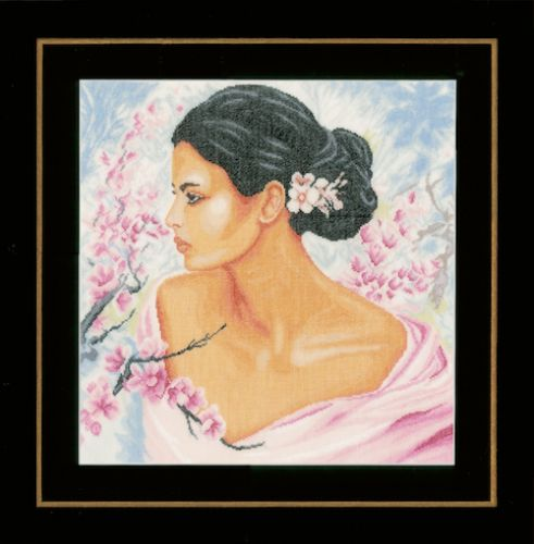 Lady with Blossoms (Linen) Counted Cross Stitch Kit by Lanarte