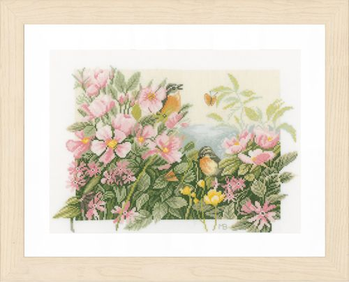 Birds & Roses Counted Cross Stitch Kit by Lanarte