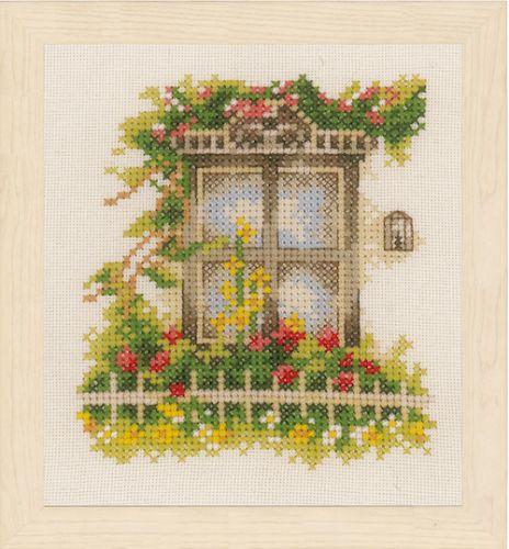 Window & Flowers (Evenweave) Counted Cross Stitch Kit by Lanarte