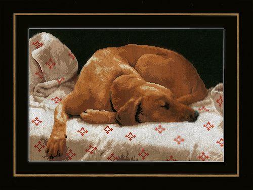 Sleeping Dog (Aida) Counted Cross Stitch Kit by Lanarte