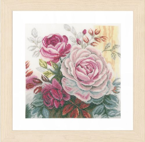 Pink Rose (Linen) Counted Cross Stitch Kit by Lanarte