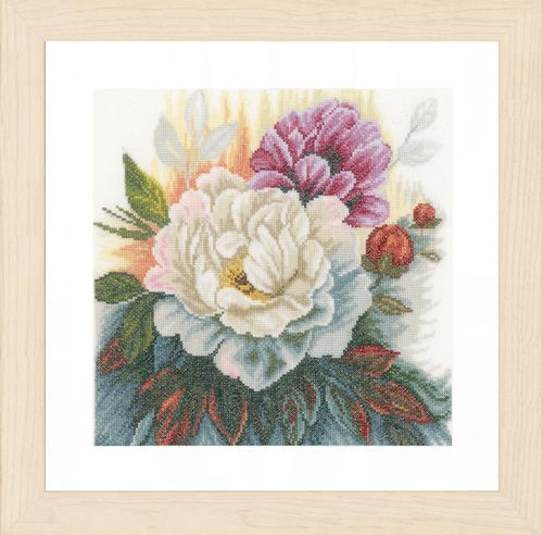 White Rose (Linen) Counted Cross Stitch Kit by Lanarte