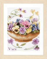 Violets Counted Cross Stitch Kit by Lanarte