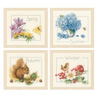 4 Seasons: Set of 4 Counted Cross Stitch Kit by Lanarte