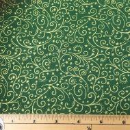 Makower Metallic Scroll Green