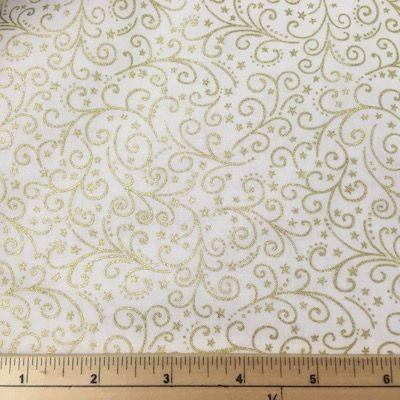 Makower Metallic Scroll Cream