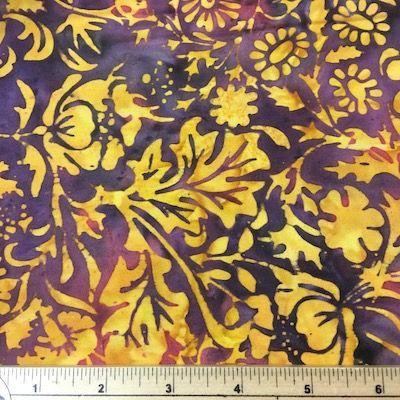 Island Batiks Gold & Maroon Floral