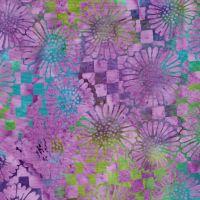 Island Batik Purple Green Floral Check