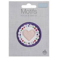 Embroidered Motif - Circle Heart