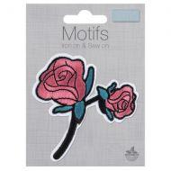Embroidered Motif - Roses on Stem