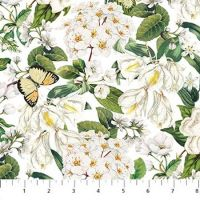 Northcott Bouquet White Packed Floral
