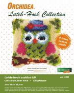 Latch Hook Kit: Cushion: Small - Green Owl