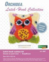 Latch Hook Kit: Cushion: Small - Orange Owl