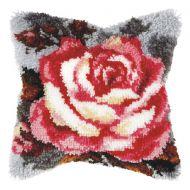 Latch Hook Kit: Cushion: Large: Rose