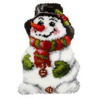 Latch Hook Kit: Shaped Cushion: Snowman