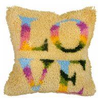 Latch Hook Kit: Cushion: Large: Love